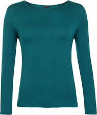 Womens New Round Neck Long Sleeve Plain Basic Ladies Stretch T Shirt Top 8-14