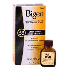 [HOYU BIGEN] PERMANENT POWDER HAIR COLOR DYE #58 BLACK BROWN .21OZ