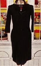 Betsey Johnson VINTAGE Dress HOOK & EYE Closure BLACK Cinched Bust S 2 4 6