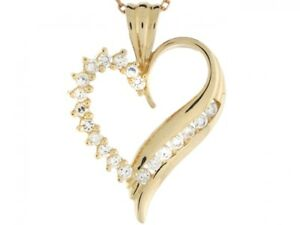 14k Yellow Gold Gorgeous Heart Pendant with Round CZ Accents