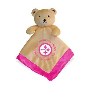 Pittsburgh Steelers Pink Baby Security Bear Blanket, NFL Licensed, 14X14