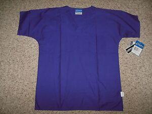 NWT! Crest Unisex Size Small Dark Purple Vneck Scrub Uniform Top Shirt Quality