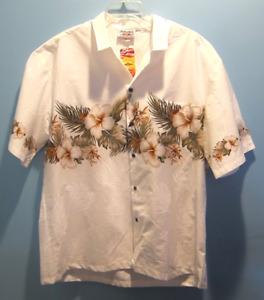 Pacific Legend White Sz XL Aloha Hawaiian Shirt Hibiscus Leaves Floral Camp NWT