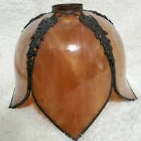Vintage Amber Tulip Petal Shaped Stained Glass Slag Lamp Shade