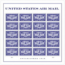 USPS New United States Air Mail (Blue) Pane of 20 stamps