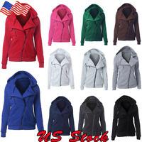 Women Zipper Tops Hoodie Hooded Sweatshirt Ladies Coat Jacket Casual Slim Jumper