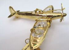 Figurine/Ornament PROPELLER PLANE -24k gold plated- 4 clear Austrian crystals