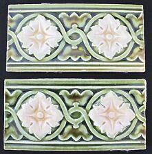 Antique England-2 Art Nouveau Majolica -Border Tiles C1900 green flower (#447)