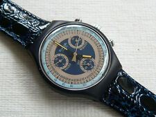 1992 Swatch Watch Silver Star Chrono Chronograh Leather Never worn