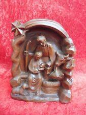 Schöne, alte Holzfigur ,  Krippe , heilige Familie
