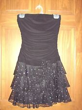 Sz Small Juniors Strapless Black Silver Sequine Formal Prom Cocktail Club Dress