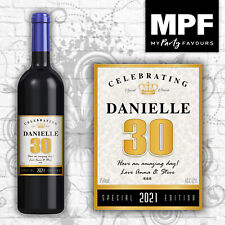 Personalised Birthday Wine Champagne Bottle Label 18th, 21st, 30th, 40th GOLD