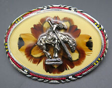 End Of The Trail Native American Indian Beaded SSI Southwest Vintage Belt Buckle