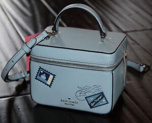 💚 Kate Spade Trunk Crossbody Bon Voyage Off The Grid Blue Leather Bag Purse NWT