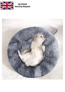 Calming Dog Cat Bed Cat Bed Donut Gray 50cm Anti Anxiety Super Soft Wash
