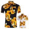 Mens Floral Print T-Shirts Short Sleeve Casual Golf Tees Hawaiian Holiday Tops D