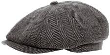 8 PANEL GREY HERRINGBONE FLAT CAP BRAND HAWKINS GATSBY  BAKER BOY hat