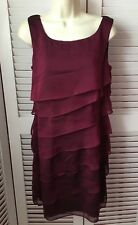 CONNECTED APPAREL UK 8 AMAZING BURGUNDY TIERED PARTY RUFFLE DRESS EU 36
