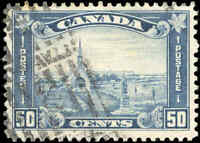 1930 Used Canada 50c F-VF Scott #176 King George V Arch/Leaf Stamp