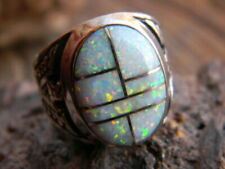 opals inlaid sizes 11, 12, or 13 Sterling silver Navajo mens ring 7 white fire