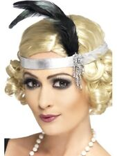 Silver Flapper Charleston Head Band Ladies 20s Fancy Dress Accessory