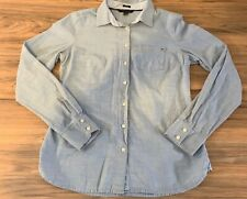 Tommy Hilfiger Blue Long Sleeve Button Down Shirt Classic Fit Womens Size Small