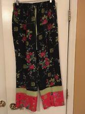 ANNE CARSON 100% Silk Pants Sz M Med - Black w/ Beads Sequins Asian Floral