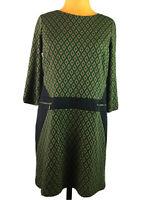 Emma Michele Womens Sheath Dress Green Printed 3/4 Sleeve Stretch Size 10