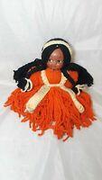 "Vintage Yarn Hair Doll  Plastic Face  12"" Tall"