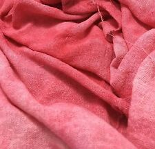 "Hand Dyed CORAL PINK Raw Silk Noil Poplin Gauze Fabric - 18""x22"" remnant"