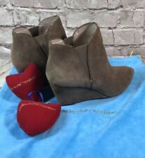 JEAN MICHEL CAZABAT BOOTS Ankle BOOTIES Wedge Heel Suede Leather Suede 6.5