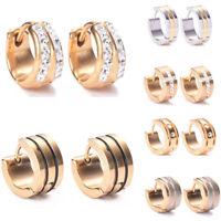 2Pcs Men Women  Crystal Rhinestone Stainless Steel  Hoop Stud Huggies Earrings