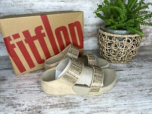 New ~ Women's FitFlop Flare Strobe Gold Slide Sandals Size 6 / 37