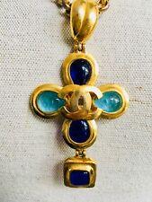 CHANEL Kreuz Kette gripoix Malteser cross byzance necklace CC earrings Tasche