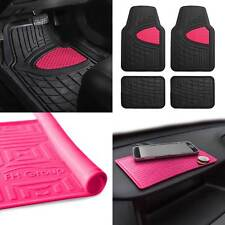 All Weather Car Floor Mats for Auto Sedan SUV Custom Fit Pink w/Dash Mat