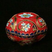 Chinese Exquisite Copper Cloisonne Enamel Handmade Flower Powder box