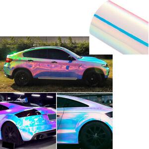 1.35Mx20CM Holographic Laser Pearl White Chrome Iridescent Vinyl Film Car Wrap