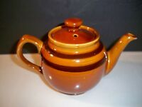 VINTAGE TEAPOT LITTLE BROWN TEAPOT WITH BROWN BANDS