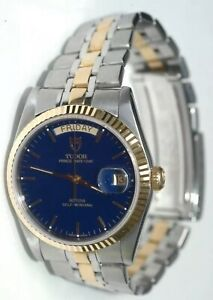 TUDOR Date-Day Silver Men's Watch - 76200. BLUE DIAL