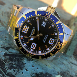 Longines HydroConquest 2 Tone Gold PVD Automatic Diver Watch 41mm