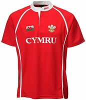 New Mens Kids Welsh Cymru Wales Cooldry Grandad Collar Rugby Casual T-shirt Top