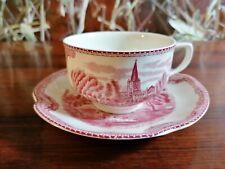 JOHNSON BROS England OLD BRITAIN CASTLES rot - schöne Kaffeetasse mit Untertasse