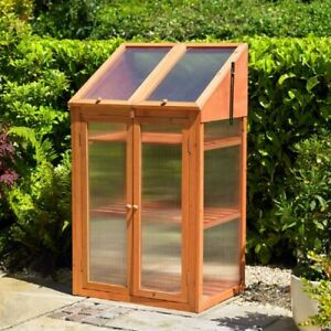 Large 3 Tier Wood Wooden Transparent Greenhouse Double Door Plants Flower Growth