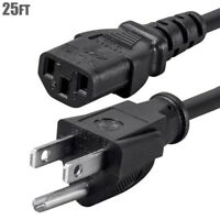 25ft 14 AWG Gauge Power Cord Cable 3 Prong Male to Female NEMA 5-15P TO 5-15R