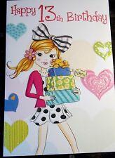 GIRL'S HAPPY 13th Birthday Card. presenta Theme by Heartstrings, 24 disponibili.