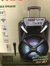 Wireless Rechargeable Party Speaker 15 inch Woofer WIred Mic LED Light Karaoke