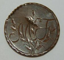 """Love Token Engraved """"Mf"""" on one side """"Cp"""" on the other on Cent Coin"""