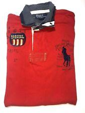 Vintage Polo Ralph Lauren Polo Shirt Flag Shield Crest 9th Reg L Red Usa