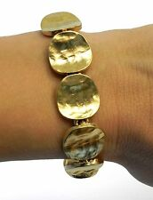 Rich Stunning Design Yellow Gold 24K Plated Hammered Discs Coins Bracelet T bar