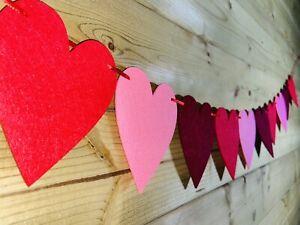 Heart Bunting Garland - Pink Maroon & Red Felt Heart Love Valentine Wedding 5ft
